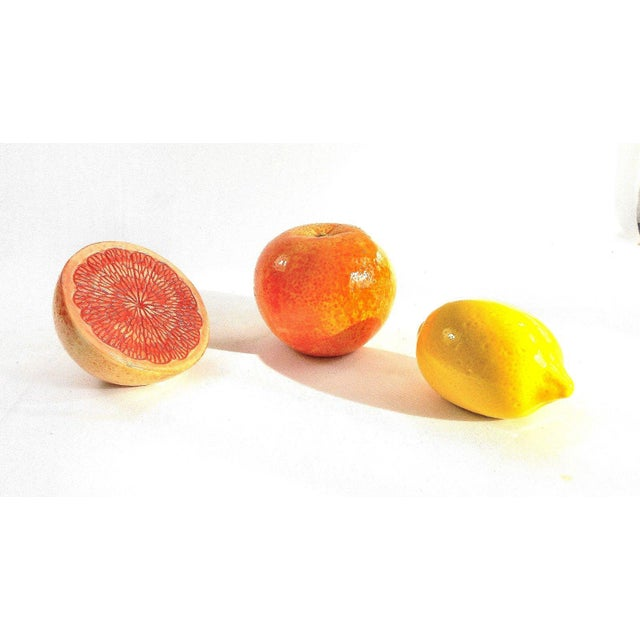 Grapefruit, Orange & Lemon Ceramic Fruit - Set of 3 For Sale - Image 4 of 13