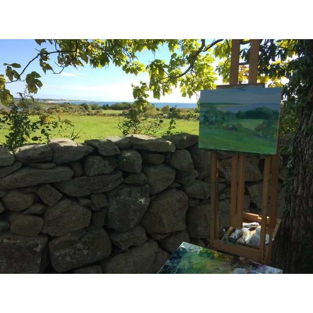 Looking down fields to where they meet the ocean. Painted en plein air in Dartmouth, Massachusetts, at the Mass Audubon...