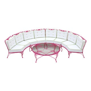 Woodard Chantilly Rose Professionally Restored 4-Piece Sectional and Cocktail Table For Sale
