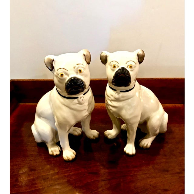 Boho Chic Pair Staffordshire 19th C. Pugs For Sale - Image 3 of 12