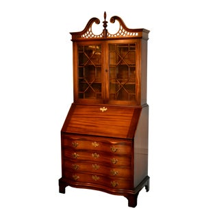 Vintage Maddox Two Piece Solid Mahogany Secretary Desk For Sale