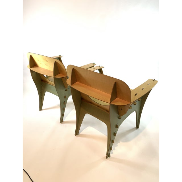 Designed by David Kawecki in 1990s. Stunning original birch plywood design. Unique green coloring and stained plywood....