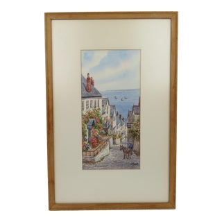 """1930s W. Sands """"Down Along, Clovelly, N. Devon"""" Signed Watercolor Painting For Sale"""