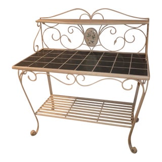 Tuscan Style 3 Tier Tile Top Server/Bakers Rack For Sale