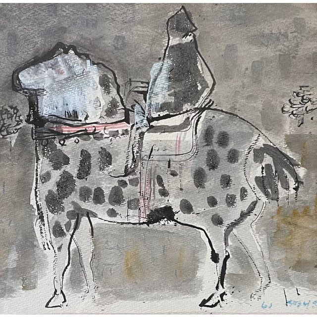 """Mid-Century Modern 1960s """"Horse and Rider"""" Modernist Figurative Gouache Painting by Birney Quick, Framed For Sale - Image 3 of 9"""