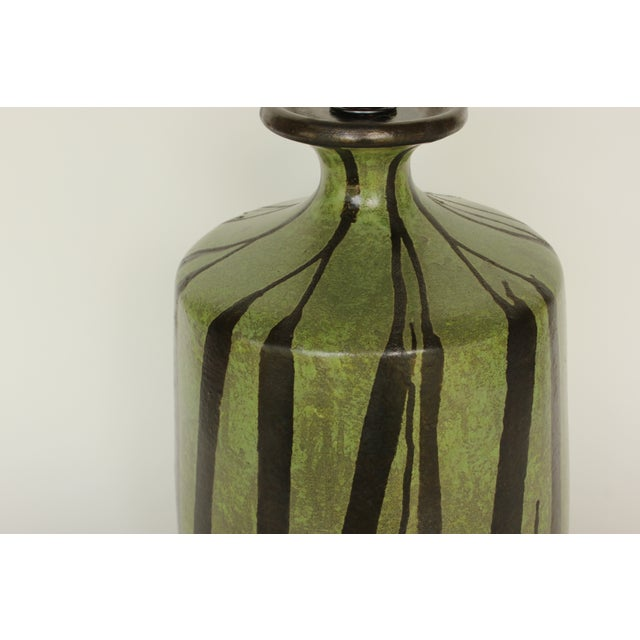 Danish Modern Table Lamp with Moss Green Glaze - Image 4 of 5