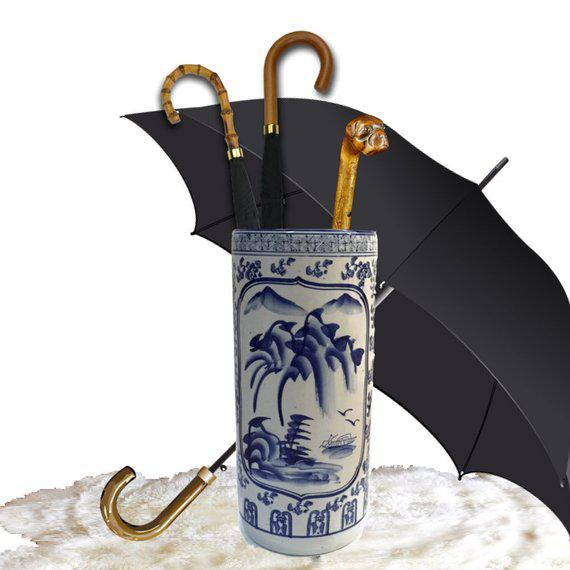 "Vintage Chinoiserie Umbrella Stand Cobalt Blue White Chinese Porcelain 18"" For Sale - Image 4 of 11"
