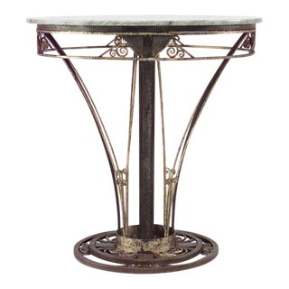 French Art Deco Round Wrought Iron End Table For Sale
