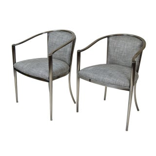 1990s Vintage Design Institute of America Dia Modernist Metal Armchairs- A Pair For Sale