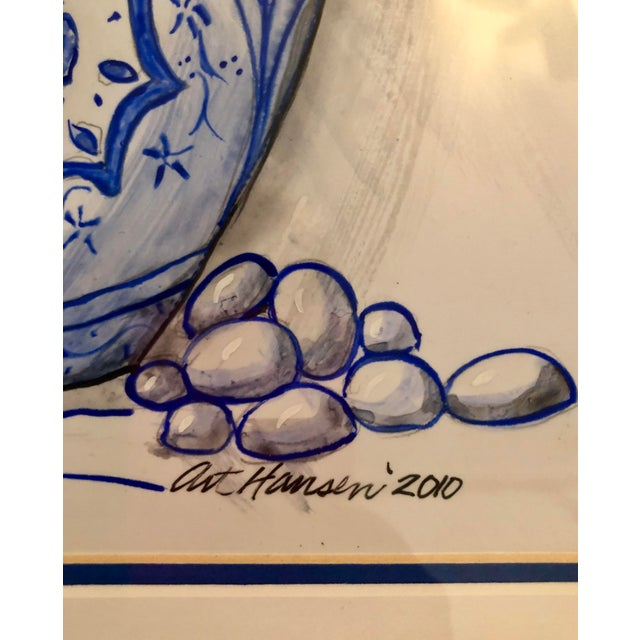 Art Hansen Blue and White Ginger Jar Painting For Sale - Image 4 of 6
