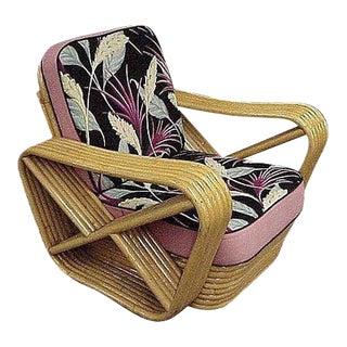 Restored Six-Strand Square Pretzel Rattan Lounge Chair For Sale