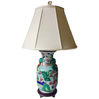Antique Chinese Porcelain Lamp-Elephant Heads-Silk Shade
