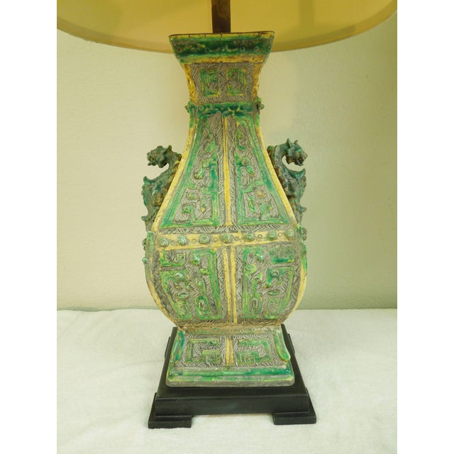 Ceramic Vintage Chinoiserie Designer Lamps - a Pair For Sale - Image 9 of 11