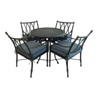 """Vintage Woodard """"Landgrave"""" Coll. Neoclassical-Style Cast Aluminum Outdoor Dining Table & Chairs -Set of 5 For Sale"""
