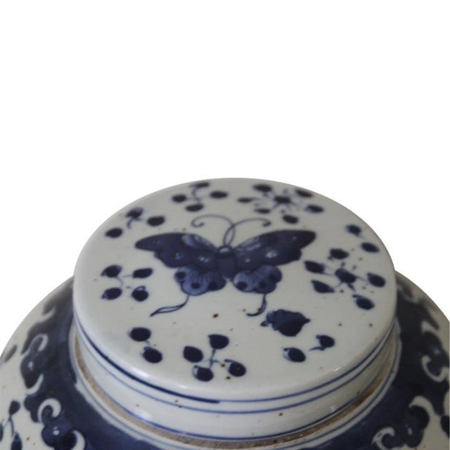 Asian Chinese Blue and White Butterfly Ginger Jar For Sale - Image 3 of 4