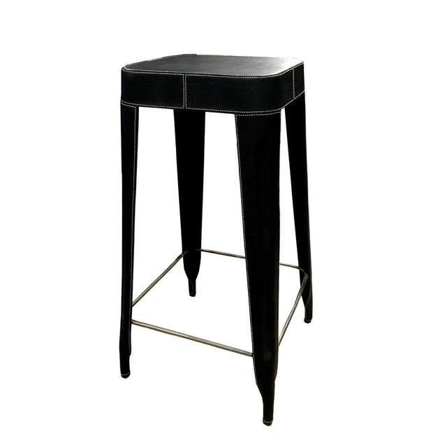 Black Leather Counter Stool For Sale In New York - Image 6 of 6