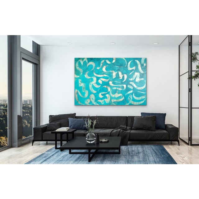 This original large scale painting is new and can be hung in any direction. The sides are painted as well so it is not...