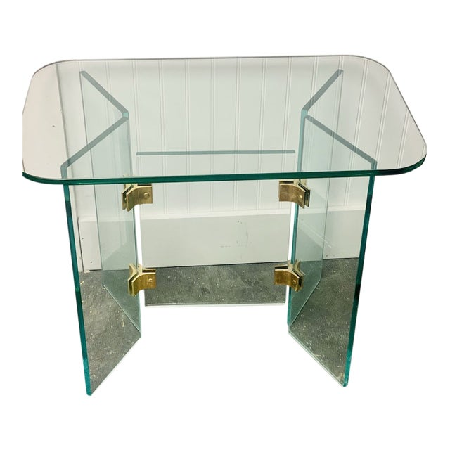 Vintage Glass Side Tables With Gold Hardware For Sale