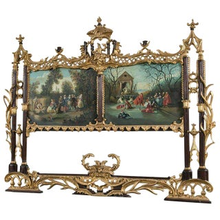 Palatial Chinese Chippendale Style Mirror with Ebonized and Antique Gold Leaf For Sale