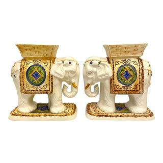 Vintage Ceramic Hand Painted Elephant Plant Stands / Side Tables - a Pair For Sale