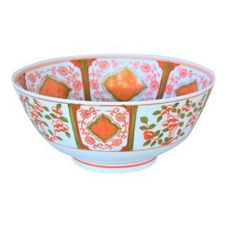 Vintage Handpainted Asian Chinoiserie Bowl For Sale