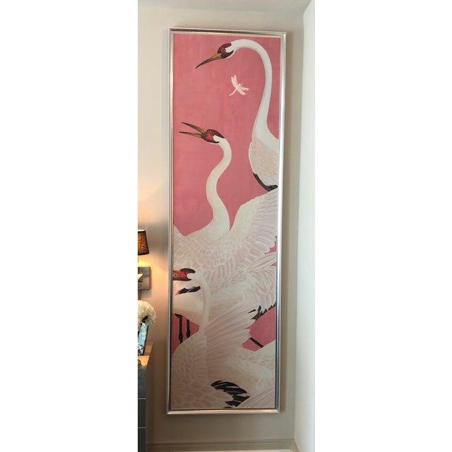 Custom Gucci Pink Heron Crane Wallpaper Mural Panels - a Pair For Sale - Image 9 of 9