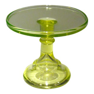 Vintage Vaseline Glass Pedestal Cake Stand For Sale