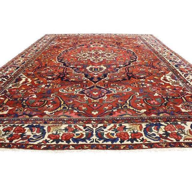 Full of character with a highly decorative aesthetic and American craftsman style, this antique Persian Bakhtiari rug...