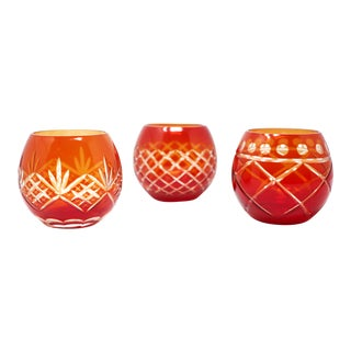 Red Cut Crystal Candle Holders - Set of 3 For Sale