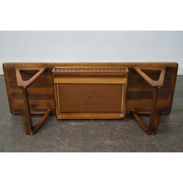 """Lane Furniture Lane """"Perspective"""" Mid-Century Walnut V Base Coffee Table For Sale - Image 4 of 10"""