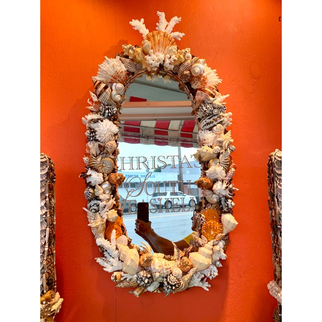 Oval Seashell Encrusted Wall Mirror For Sale - Image 10 of 10