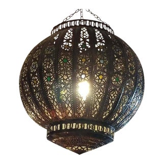 Turkish Moroccan Handmade Copper Finish Multicolor Glass Lantern