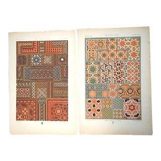 A Pair-Antique 19th Century Ornamental Design Motifs-Chromolithographs For Sale