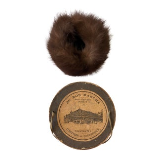 Late 19th Century Au Bon Marché Maison A. Boucicaut Paris Muff of Fur & Box For Sale
