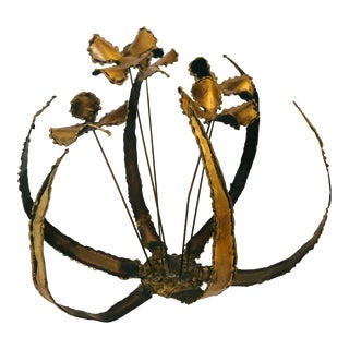 1980s Brutalist Brass Flower Decoration For Sale