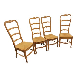 Country French Oak Ladderback Rush Seat Chairs - Set of 4 For Sale