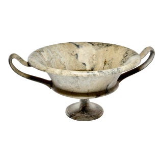 New Large Hand Carved Italian Marble Vessel With Handles For Sale