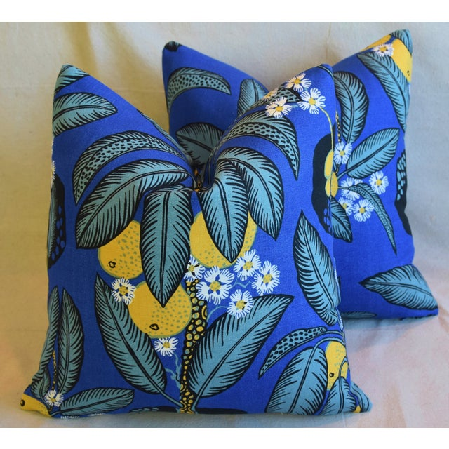 """Feather Designer Josef Frank """"Notturno"""" Floral Linen Feather/Down Pillows 18"""" Square - Pair For Sale - Image 7 of 11"""