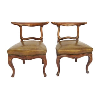 English Regency Leather Side Chairs - Pair For Sale