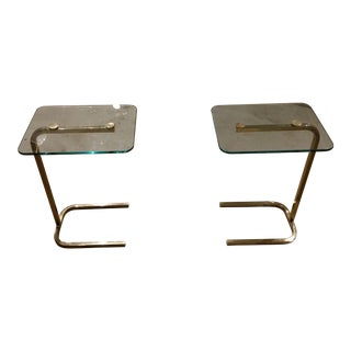 1970s Cantilevered Brass & Glass Petite Drinks Tables - A Pair