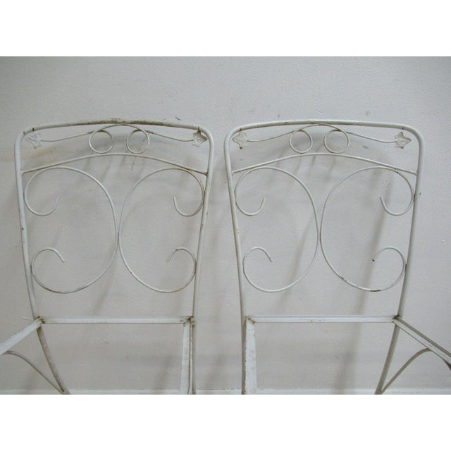 Vintage Woodard Ivy Iron Outdoor Patio Side Chairs - A Pair - Image 4 of 5