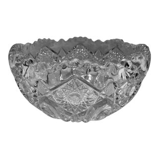 Hand Cut Crystal Czech Bohemian Glass Bowl For Sale