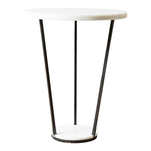 Modern Patrice White Marble Top Side Table For Sale