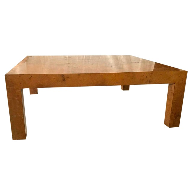 1970s Mid-Century Modern Burl Wood Square Coffee Table For Sale