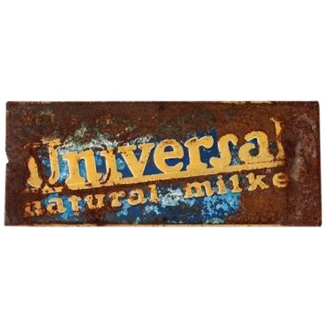 "Vintage ""Universal Nautral Milker"" Metal Sign For Sale"