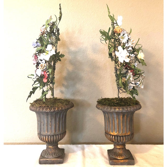 Green Vintage French Tole & Porcelain Flower Topiaries in Urns - a Pair For Sale - Image 8 of 11