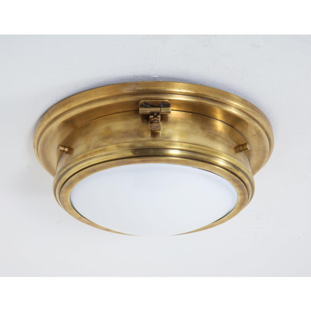 American Ralph Lauren Marine Porthole Flushmount in Natural Brass, - Set of 7 For Sale - Image 3 of 8