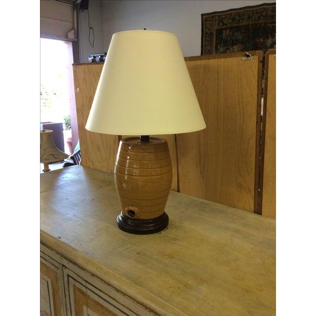 English Glazed Pottery Cask Lamp - Image 4 of 5