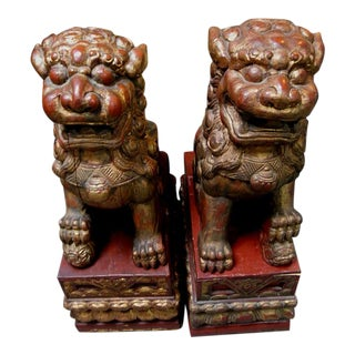 Antique Chinese Red Wood Guardian Foo Dog Lions - a Pair For Sale