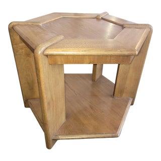 Vintage Lane Hexagonal Walnut Side Table For Sale
